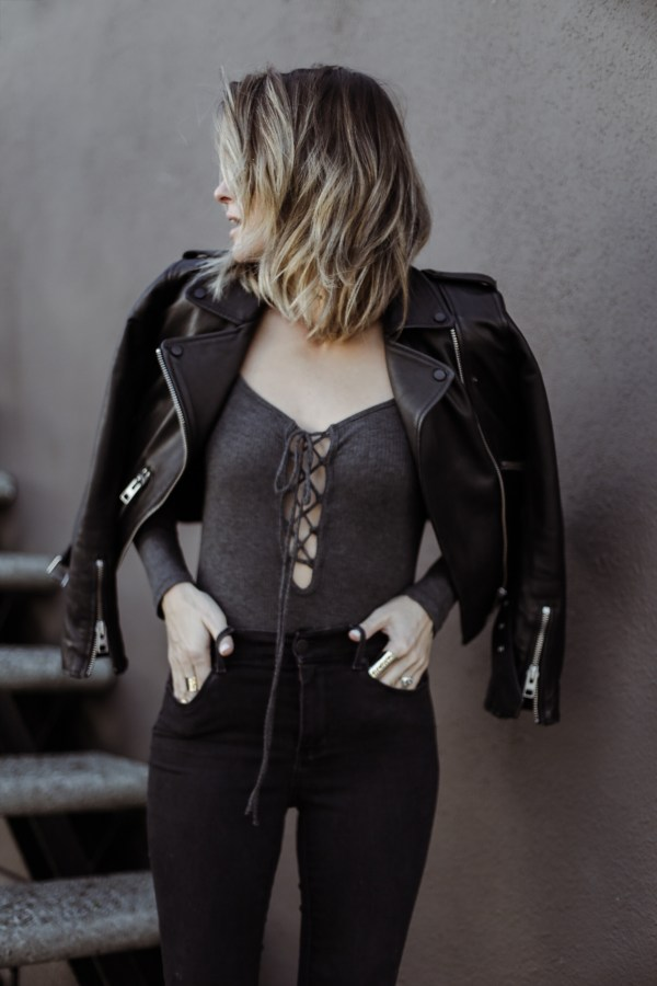 All Saints Balfern Leather Jacket | Delacy Bodysuit | Mott & Bow Jeans
