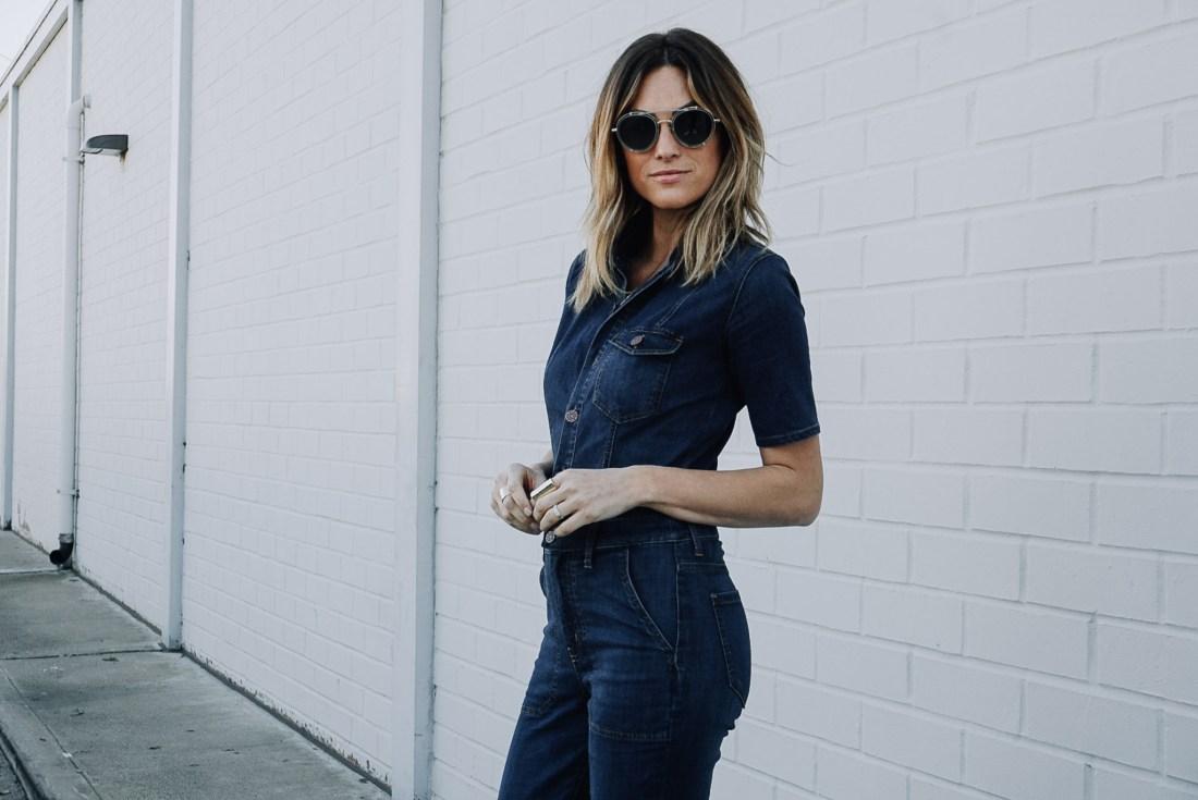 Denim Flare jumpsuit on Jen Hawkins | Palms to Pines