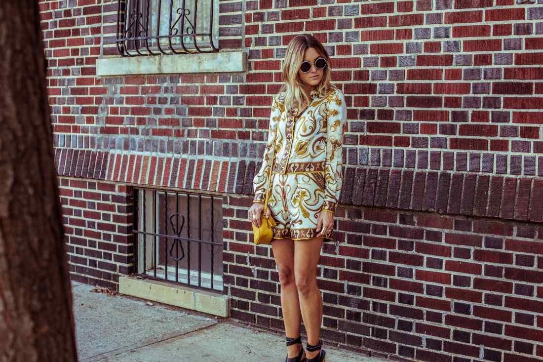 Jennifer Hawkins wears Rachel Zoe Paisley romper in NYC
