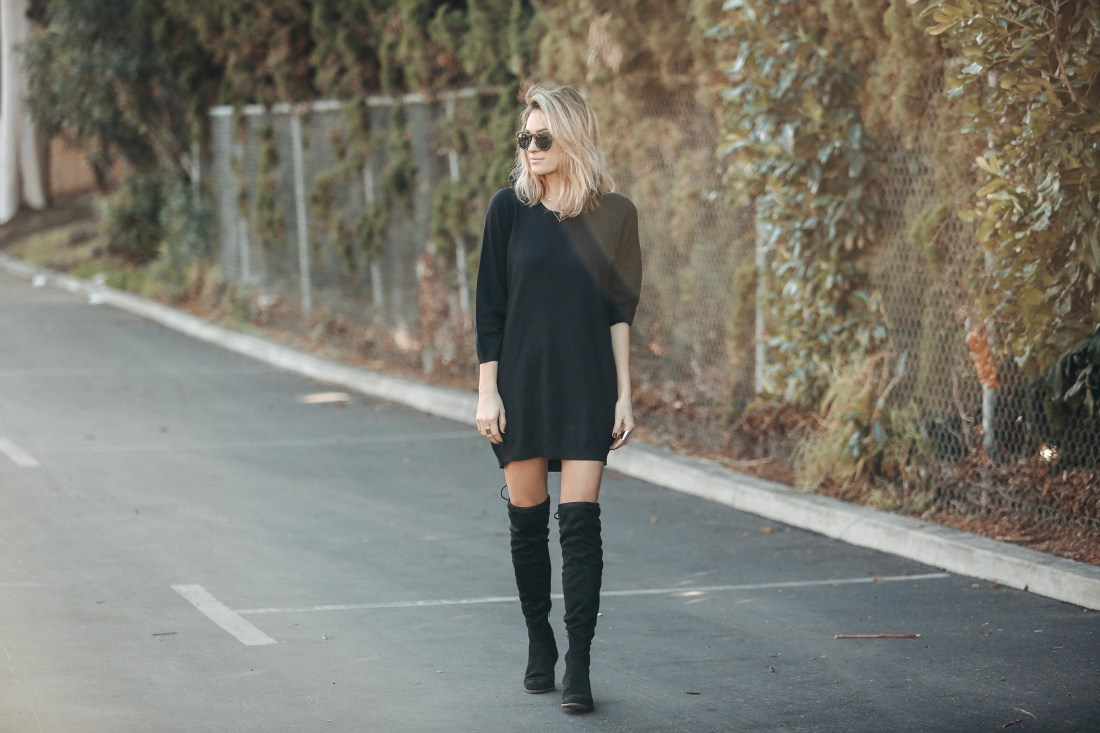 New Year's Budget   Black Sweater Dress   Over the Knee Boots on Sale