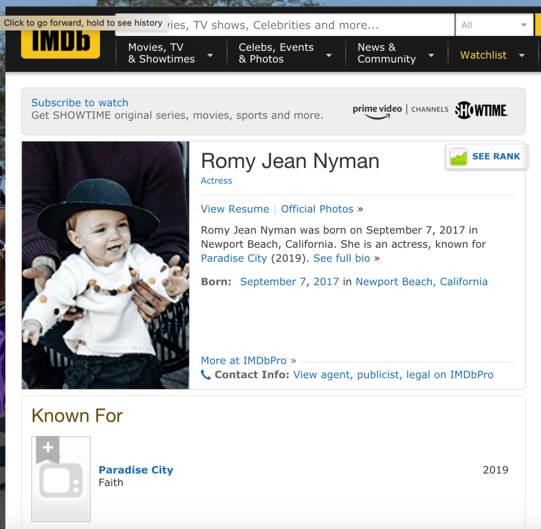 Romy Jean Nyman IMDB | Paradise City