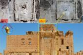 Destruction of the cela in the temple of Baal by Islamic State - before/after