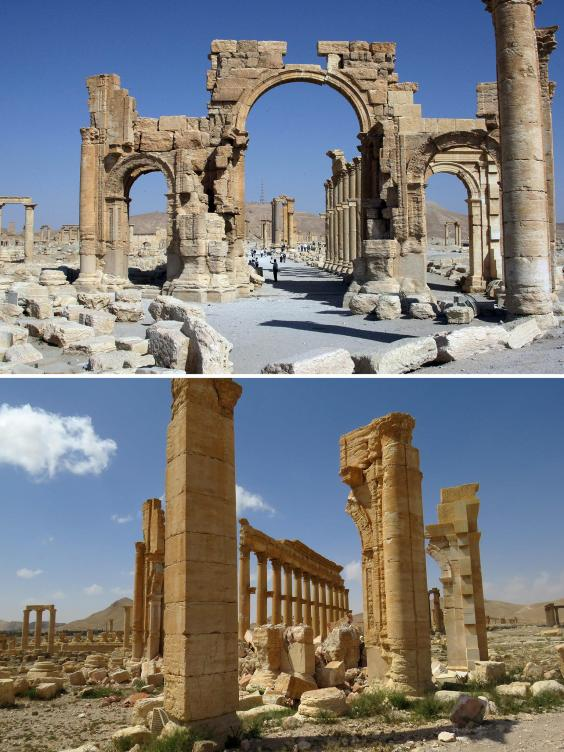 The Arc de Troimphe (Triumph's Arc) prior to being destroyed by Islamic State (IS) group jihadists in October 2015 and the remains of the iconic structure after government troops recaptured the ancient city