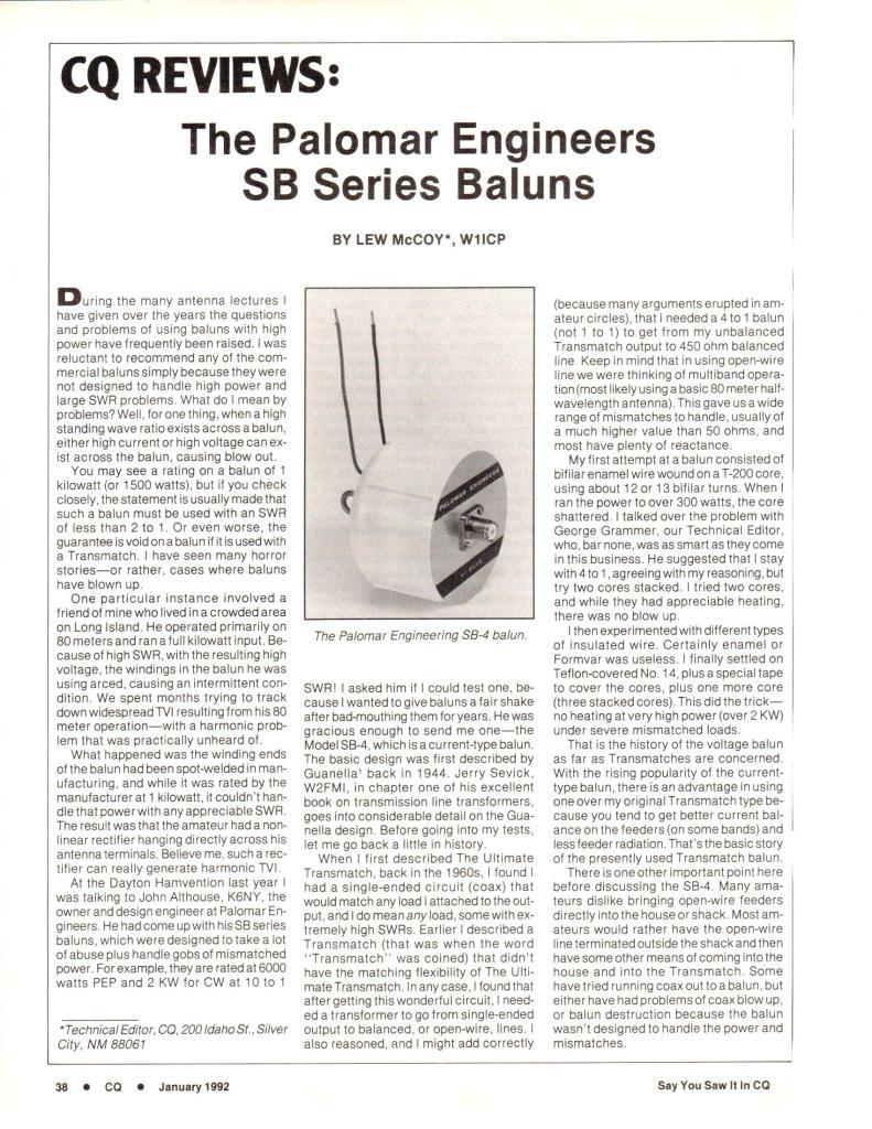 SB Review CQ 1992 Page 1 791x1024 - Super Baluns