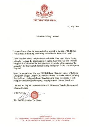 Appointment Letter for Lama Rabsang
