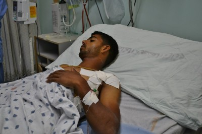 Amer Abu Hadayed, 20 years, hospitalized in the Intensive Care Unit of the European hospital (Photo: Rosa Schiano)