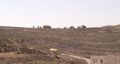 Construction of illegal settlement expansion, after work was finished in the afternoon (Photo by ISM)