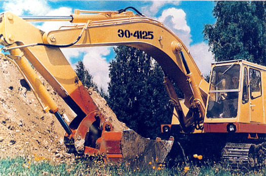 EO-4125 excavator. The excavator is probably the single most versatile and important earth moving machine on a construction site. This one sported servo-controlled valves, which makes current excavators much easier to operate than their older counterparts.