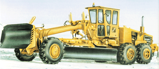 DZ-140 motor grader, used for final levelling of roadways before smoothing and paving. The blade is 4.8 m long.