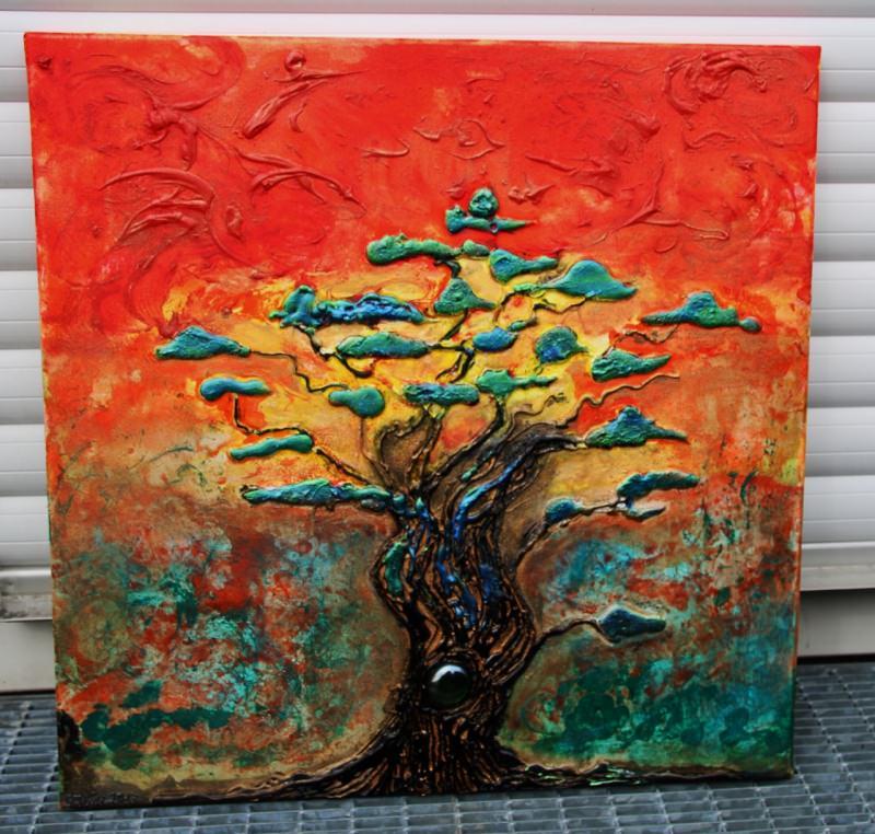 Acrylbild Acrylmalerei Landschaftsmalerei Kirschblutenfest Eur
