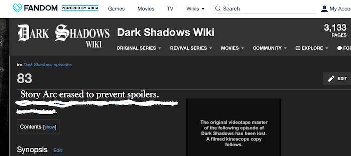 Image of Fandom Dark Shadows wiki page