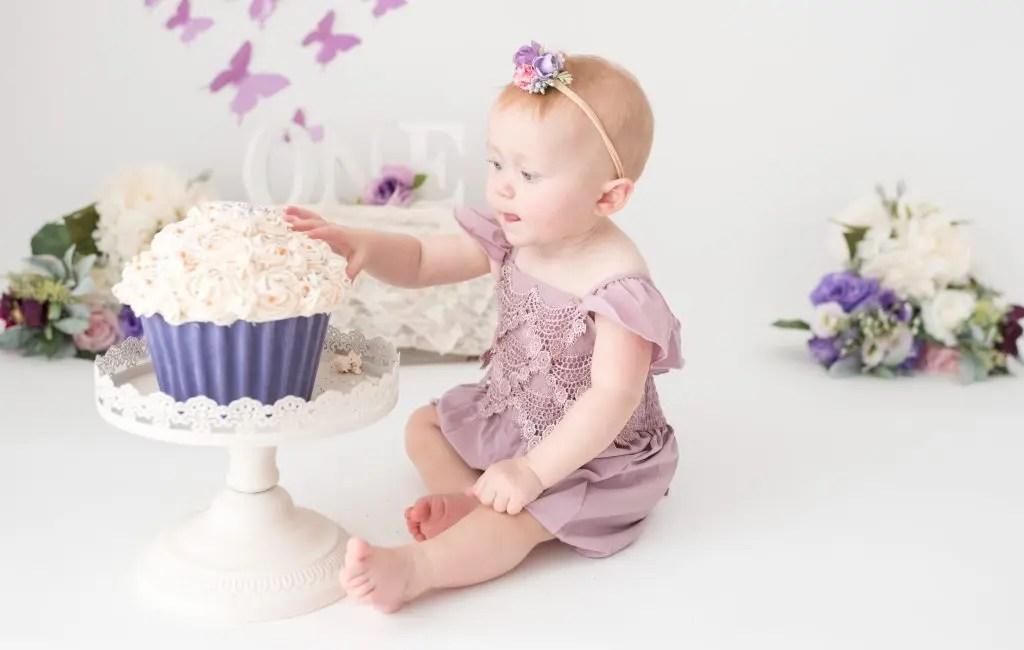 One Year Old Cake Smash Session Purple
