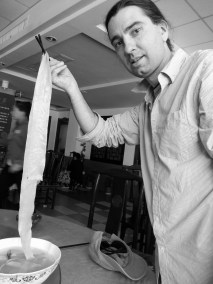 """We had lunch at a place that made a """"noodle"""" soup. The noodle was 3.8 meters long!"""