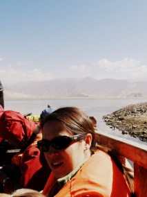 Crossing the Tsangpo River by ferry to get to Samye Monastery
