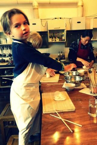 Sophia learning to knead