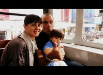 Miguel, Gema, and Hugo on the tram through Central