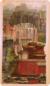 a very cool modern scroll painting of Yonghegong and the Beijing cityscape