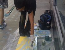 "Painting ""Facing Times Square, V"" on 42nd Street and Broadway"