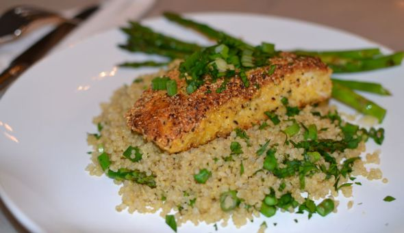 Cornmeal Crusted Halibut with Spicy Tartar Sauce