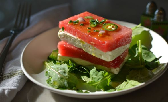 Watermelon Feta and Arugula Salad