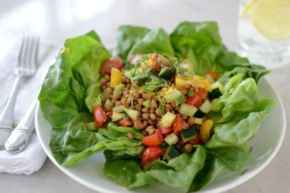 Lentil Vegetable Salad with Poached Egg
