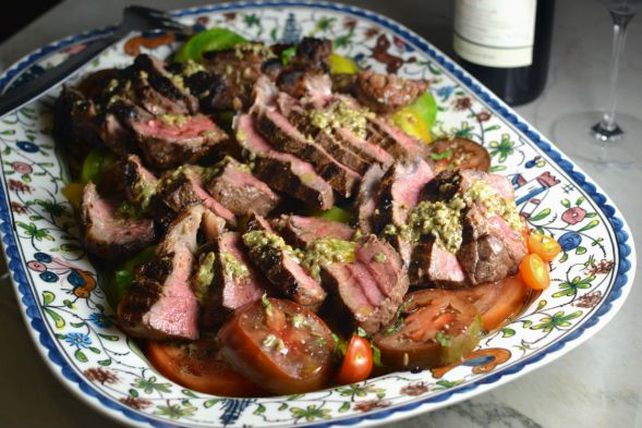 Strip Steaks with Heirloom Tomatoes and Toasted Spice Vinaigrette