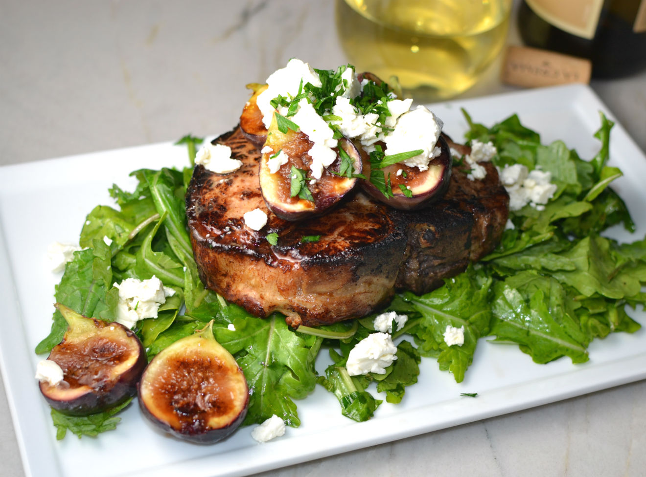 Pork Chop with Feta and Figs