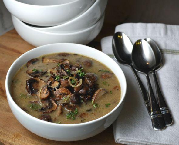 Roasted Mushroom and Shallot Soup