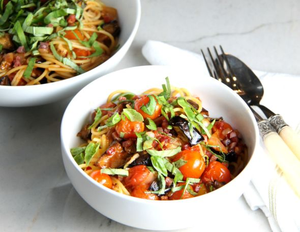 Pasta with Eggplant and Roasted Tomatoes