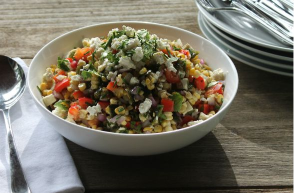 Charred Corn Poblano Salad with Feta