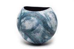 rounded pot with blue swirls