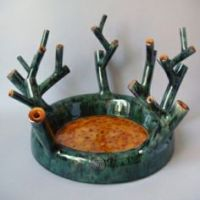 green tray with branches