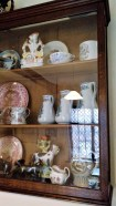 Staffordshire flat backs, cow creamers and other pottery, Tea Rooms, Rufford Old Hall