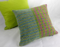 Turquoise/lime/pink stripe 40x40cm