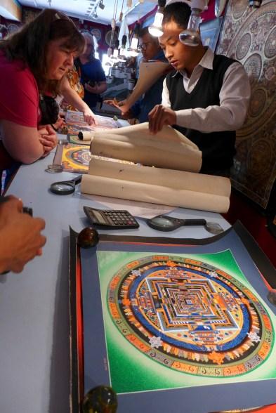 viewing the Mandala paintings.
