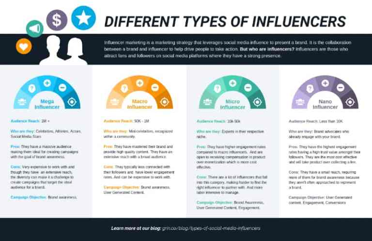 Different Types of Marketing Influencers infographic