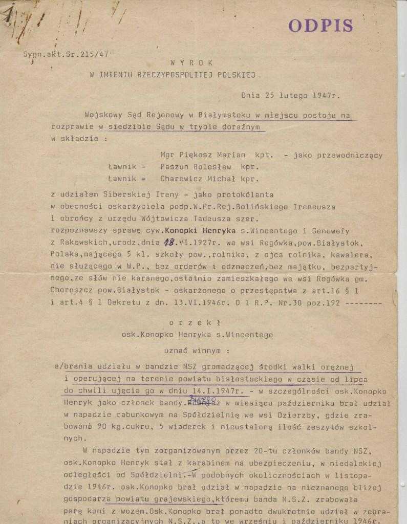 Henryk Konopko - wyrok komunistycznego sądu