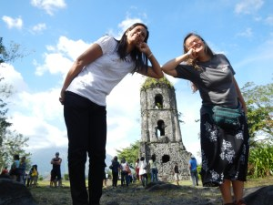 There was a vendor at Cagsawa Ruins that sold us a photo of a past eruption of Mayon Volcano in the background.  As a bonus, she made Sister Ofel and Sister Pam look like giants.  She also made Brother Mike look like superman by holding a rock in front of the camera to make it look like he was lifting a boulder (see previous post).