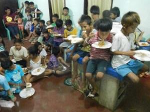Feeding time in Donsol Church