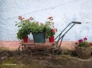 filigraner Handkarren mit vier Rädern und Deichsel. Darauf stehen Blumentöpfe