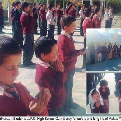 Gulmit: Students and teachers pray for recovery of Malala Yusufzai