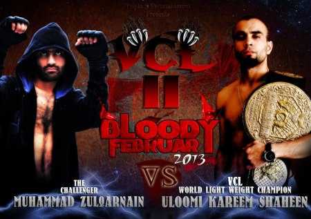 A poster developed for the MMA championship. Uloom, on the right, won the match and the title