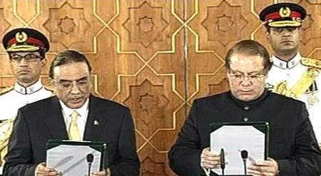 President Zardari administering oath to PM Nawaz Sharif at Aiwan-e-Saddar in Islamabad
