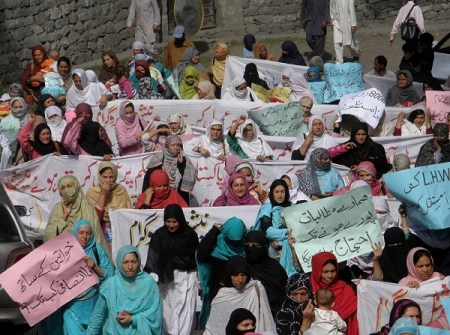 In Gilgit the women holding placards staged a sit-in for several hours. Photo: Mon Digital