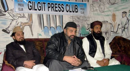 Leaders of the Sunni Ittehad Council addressing a press conference in Gilgit. Photo: Mon Digital