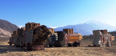 Dozens of trucks have been standing along the KKH for almost three months. Photo; M. H Gohar