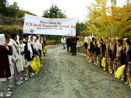 Students attending a walk in Karimabad, Hunza Valley
