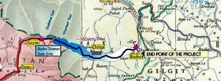 The blue area shows the land of Diamer district that will come under water after construction of the dam