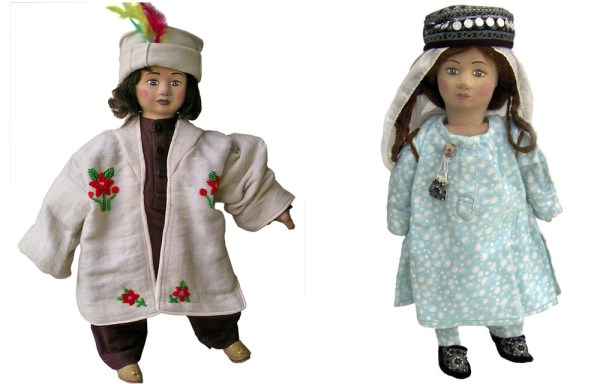 The dolls depicting a boy  and a girl from the Hunza region
