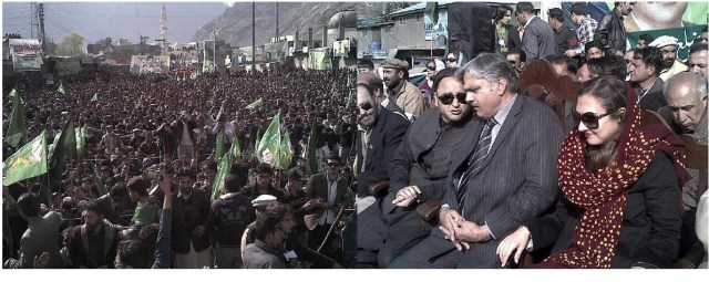 Marvi Memon, Barjees Tahir and Hafeezur Rehman shared the stage in Gilgit along with other party leaders.